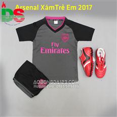Áo bóng đá arsenal xám hồng trẻ em năm 2017-2018