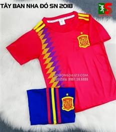 Áo bóng đá trẻ em Tây Ban Nha đỏ sân nhà 2018