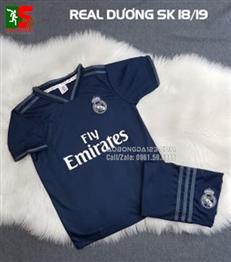 Áo bóng đá trẻ em Real Madrid dương sân khách 2018-2019