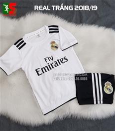 Áo bóng đá trẻ em Real Madrid trắng sân nhà 2018-2019