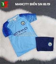 Áo bóng đá trẻ em Mancity sân nhà 2018-2019