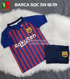Áo bóng đá trẻ em Barca sọc sân nhà 2018-2019