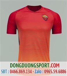 Mẫu áo câu lạc bộ AS Roma cam kẻ ngang sân khách thứ 3 đấu cup c1 mùa 2016-2017
