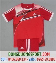 Áo Bóng Đá Không Logo Adidas Màu Đỏ