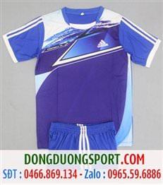 Áo Bóng Đá Không Logo Adidas Màu Xanh