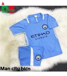 Áo bóng đá trẻ em Man City Xanh ngọc