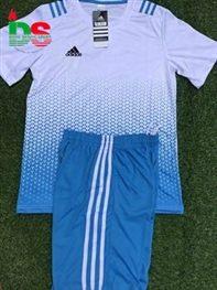 Áo bóng đá không logo All Black trắng xanh ngọc