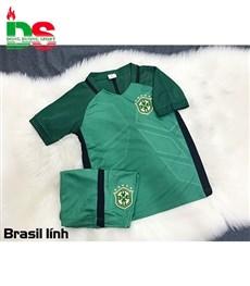 Áo bóng đá trẻ em Brazil xanh lính