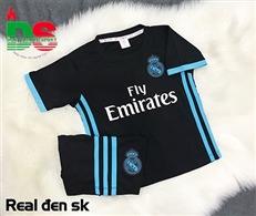 Áo bóng đá trẻ em Real đen Sân khách