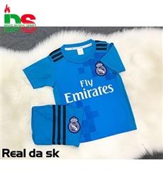 Áo bóng đá trẻ em Real xanh da Sk