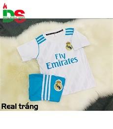 Áo bóng đá trẻ em Real trắng