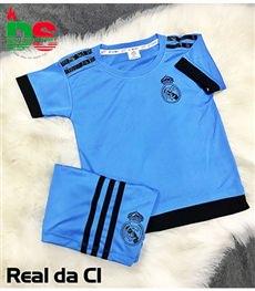 Áo bóng đá trẻ em Real xanh da C1