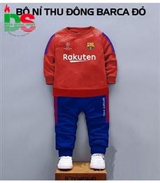 Bộ nỉ cao cấp trẻ em CLB Barca đỏ